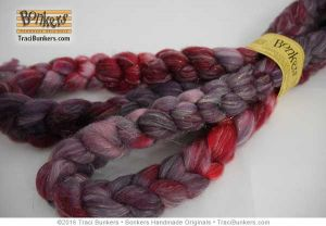 TraciBunkers.com - Hand-dyed Superwash Sparkle Spinning Fiber in Cranberry