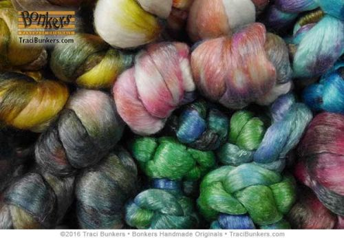 TraciBunkers.com - Hand-dyed Tencel \'n Merino Spinning FIber
